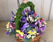 Dried flower and herb pastle spring centerpiece, in wicker basket. With green moss and bird. Ready to ship.