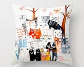 Cat Family, colorful cats, Pillow cover, case, room decor