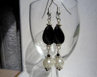 Black Onyx and Swarovski Pearl Earrings