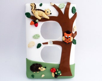Forest themed light switch or outlet cover - hedgehog, owl, squirrel - childrens nursery