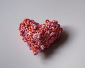 Crochet pink heart shabby chic home decoration brooch keychain ornament Valentine's gift for her Mother lavender sachet Birthday Wedding