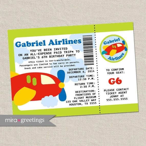 Airplane Birthday Party Invitation Airline Ticket Invite – Airline Ticket Birthday Invitations