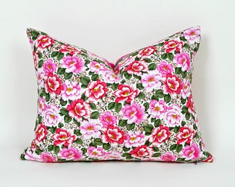 Shabby Chic Pillow, Pink Floral Cushion, SALE, 12x18, 14x18 Lumbar Pillow, Roses, Country Cottage Decor, Gift Idea for Her