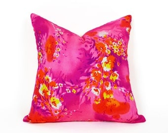 Neon Pink Pillows, Red Orange Pillow Covers, Hawaiian Floral Pillow Cover, Bright Bold Pillows, Eclectic Cushion Covers, 18x18, SALE