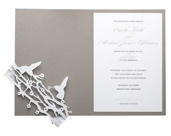 Hummingbird Wedding Invitations - slate gray, black and white, neutral, laser cut, bird, branches, wedding invites
