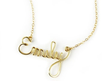 Custom 14k GF Script Name Necklace, personalized, bridal party, bridesmaid, graduation gift