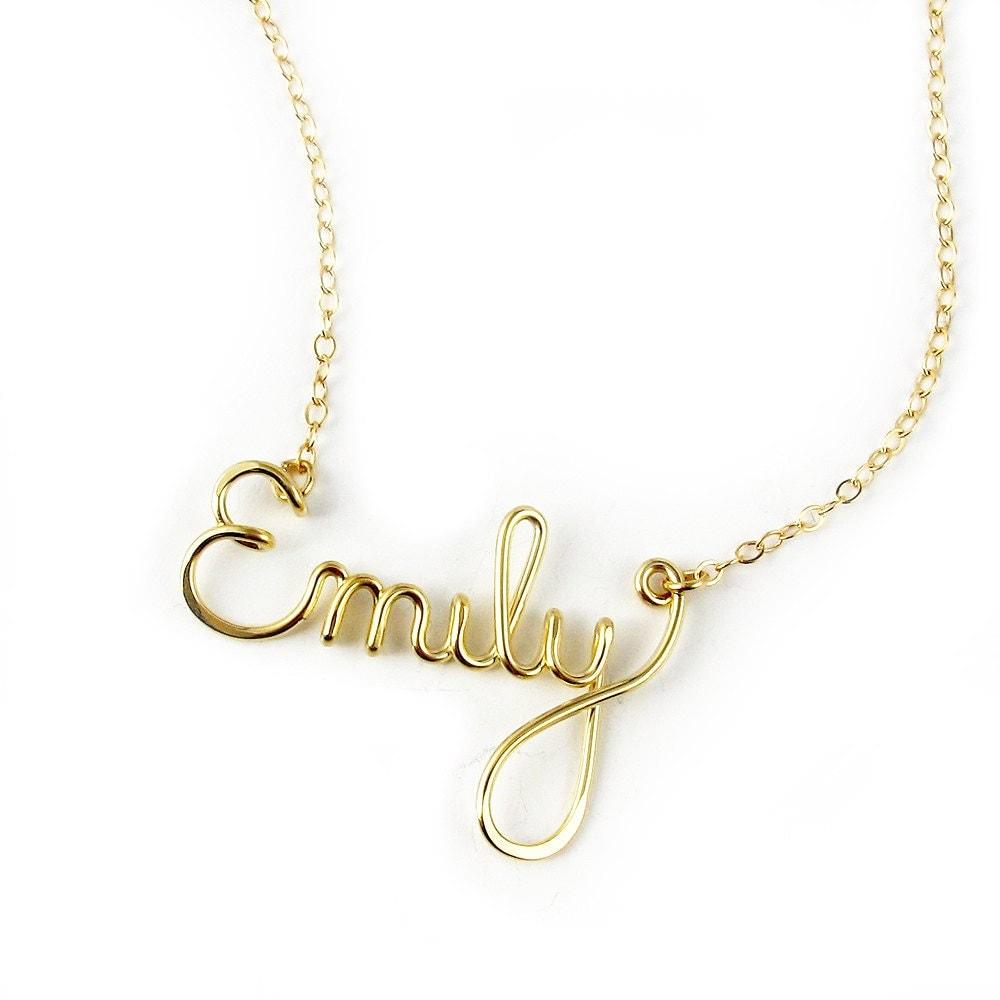 custom 14k gf script name necklace personalized bridal