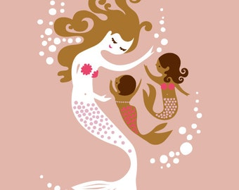 "11X14"" mermaid mother and daughters giclee print on fine art paper. mauve pink, magenta, brunette, mocha, multicultural, adoption."