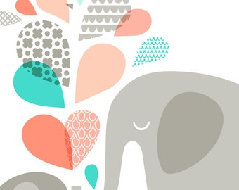 11X14 elephant mommy & baby portrait format giclee print on fine art paper. coral pink, teal, turquoise blue, gray.