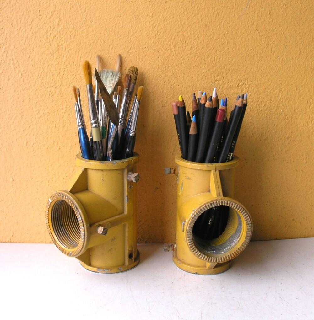One Metal Pencil Holder Office Organizer Industrial Decor