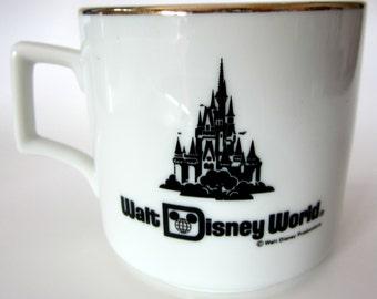 Walt Disney Productions Cinderella Castle Collector Mug Cup Coffee Tea Japan Collectible Gold Trim