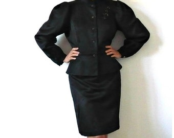 French Vintage Fitted Black Suit