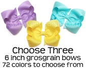 """6 inch Grosgrain Bows, King Sized Boutique Bows, Texas Hair Bow, 6"""" Giant Hair Bow for Women, Great Big Bow, Extra Large Hair Bow for Girls"""