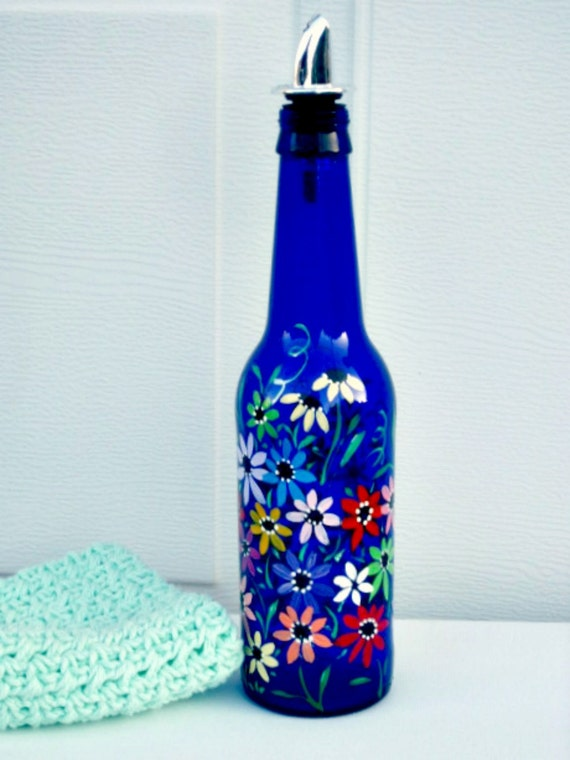 Dish Soap Dispenser Recycled Blue Beer Bottle By