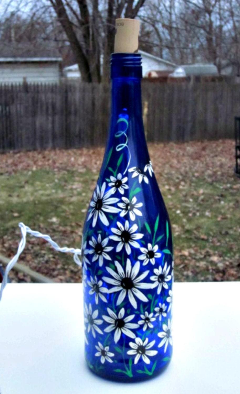 Blue wine bottle light table light hand painted wine bottle for Wine bottle artwork