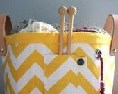 Knitting Basket, Yellow Chevron