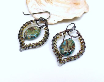 Hippie Dangle Earrings, Beaded Hoops with Stone Drop, Artisan Made Mixed Metal Original Earrings, Copper Sterling and Jasper, Gift for Her