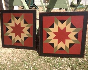 PRiMiTiVe Hand-Painted Barn Quilt - 3' x 3' Harvest Star Pattern (Cinder Version)