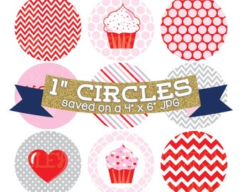 Digital Bottlecap Images Valentines Day Instant Download Bottle Cap Graphics Digital Collage Sheet One Inch Circles 4x6 JPG