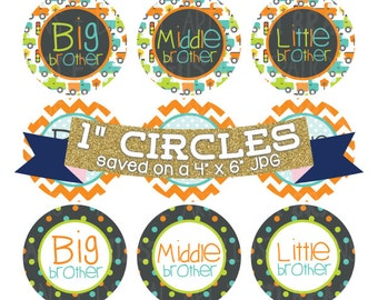 ON SALE Brothers Digital Bottlecap Images Instant Download Bottle Cap Graphics Digital Collage Sheet One Inch Circles 4x6 JPG