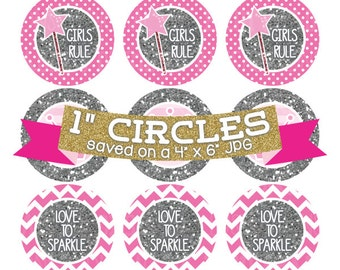 Pink Princess Crowns Digital Collage Sheet Bottlecap Images Silver Glitter Instant Download Bottle Cap Graphics One Inch Circles 4x6 JPG
