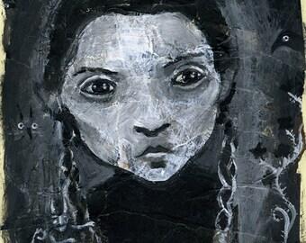 spooky girl Wednesday Addams - original painting  - A4 21x29,7 cm