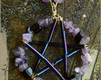 Pentacle pentagram purple Necklace with Amethyst  and black onyx -- witch necklace handmade - Gemstone vintage jewelry