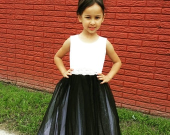 Black and White Flower girl dress for wedding