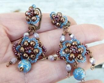Orient blue & purple /cloisonne bead pendant earrings