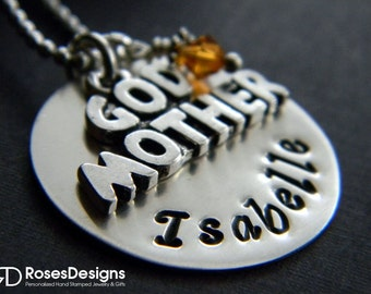 Personalized God Mother Necklace, God Mother, Handstamped Necklace, God Mother Gifts, by RosesDesigns