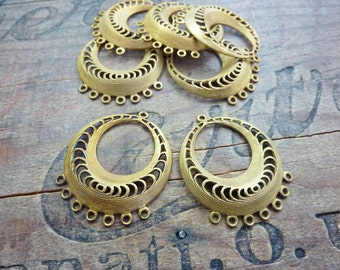 Vintage Brass Circle Chandelier Earring Finding (2)
