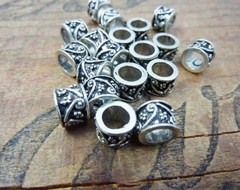 Metal Bead Big Hole Bead Silver Big Hole Filigree Beads (4) IS322