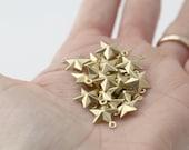 Raw Brass Puffed Star Charms Pendants 15mm (20)