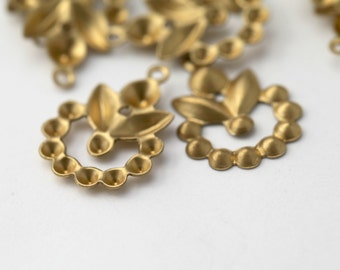 Vintage Raw Brass Charm Pendant Round Charms Settings 21mm (10)