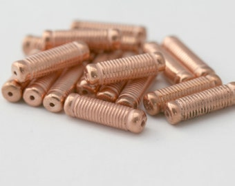 Acrylic Beads Copper Ornate Ribbed Oval Tube Beads 26mm (20)