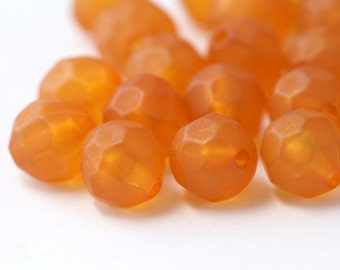 Orange Acrylic Faceted Round Matte Beads 11mm (20)