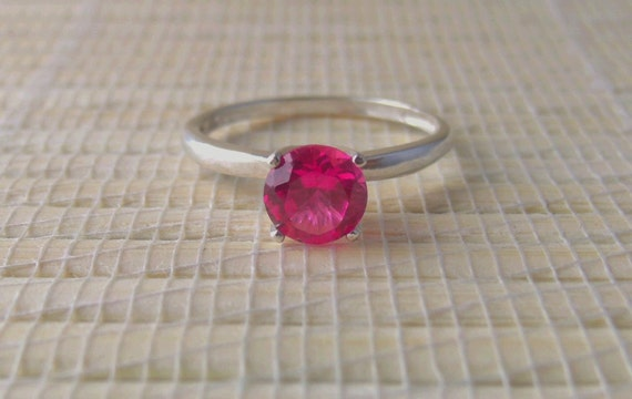 Pink Sapphire Ring Sterling Silver Lab Created Made To Order