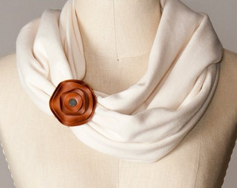 chunky infinity scarf, chunky scarf, chunky circle scarf with leather scarf cuff