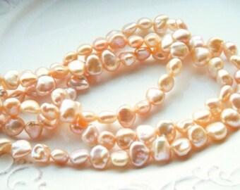 Premium Golden Peach Keshi Freshwater Pearl Strand - RARE Premium Pearls - 1/4 Strand - 10 pearls