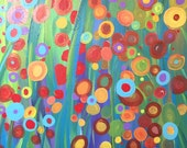 Garden Dreams, 16 x 20, Abstract Floral Acrylic Painting on Gallery Wrapped Canvas