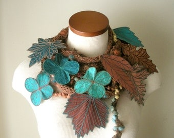 Long and Leafy Scarf with Embroidered Leaves - Sienna Brown with Leaves of Copper, Turqoise, Teal, and Rosewood - Fiber Art Scarf