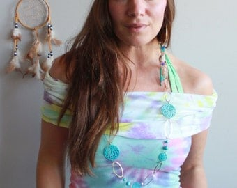 Colorful Tie Dye Hooded Cowl Neck Off The Shoulder Upcycled/Recycled Tshirt Tee Top Hippie Bohemian OOAK Clothing Size XS