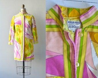 Pucci coat | vintage 1960s spring coat • mod psychedelic velvet coat