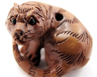 Tiger Hand-Carved Boxwood Ojime Bead