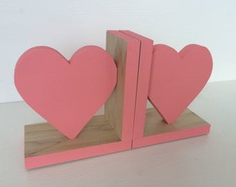 Heart Bookends, Coral Pink, Heart Decor,  Kids Decor, Pink Heart Bookends, Eco-friendly