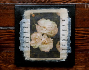 White Roses - painting and poem