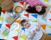 Picnic Blanket- Waterproof Picnic Blanket- Rainbow Flags with Red Polka Dots