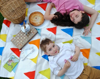 Picnic Blanket- Waterproof Picnic Blanket- Rainbow Flags- Modern Kids