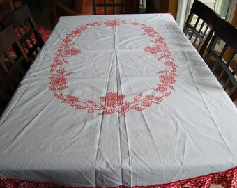 Vintage Red Tablecloth with Gingham and Flowers