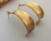 NuGold Red Brass Anticlastic Earrings - Hand Hammer Formed  - Jewelers Bronze - Sterling Post Hoop Earrings - Yellow - Brass - Shell Formed